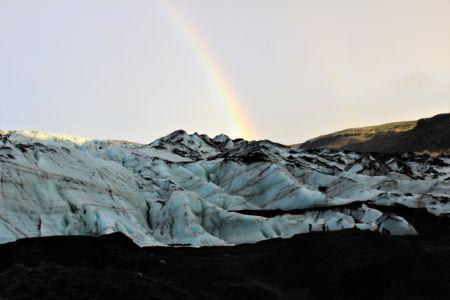 Sólheimarjökull Glacier with a rainbow