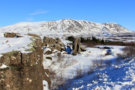 Basalt colums in winter cap, Þingvellir